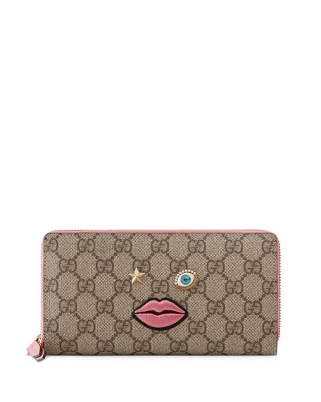 Gucci Embroidered-Face Zip-Around Wallet, Multicolor/Rose