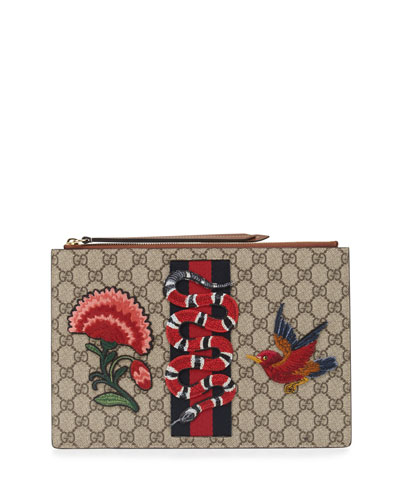 Embroidered GG Supreme Pouch, Brown/Multi