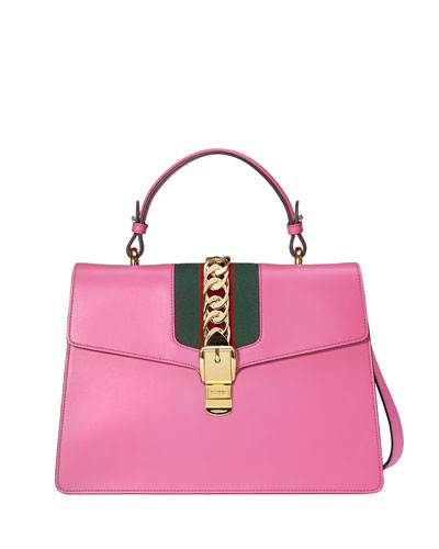 Sylvie Leather Top-Handle Satchel Bag, Bright Pink