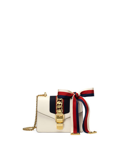 Sylvie Leather Mini Chain Shoulder Bag, Red