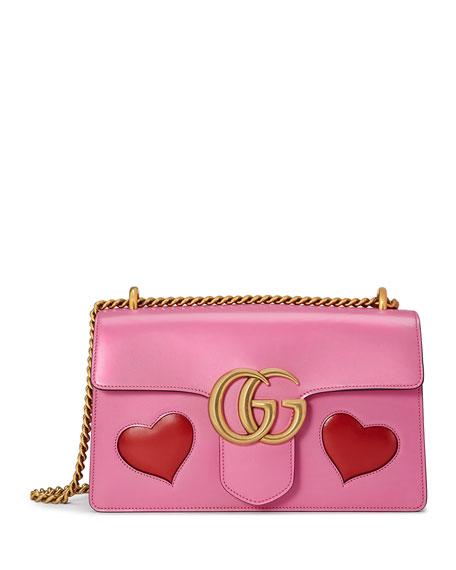 GG Marmont Medium Heart Shoulder Bag, Pink/Multi