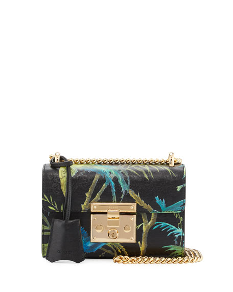 Padlock Small Tropical-Print Shoulder Bag, Black/Multi