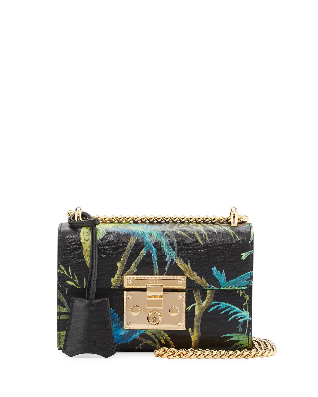 ce647b9f45dd Gucci Padlock Small Tropical-Print Shoulder Bag, Black/Multi ...