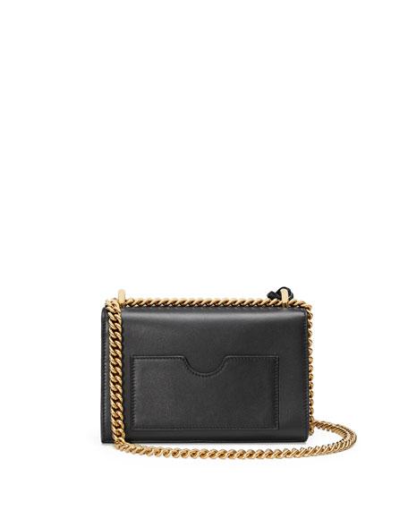 Padlock Small Leather Shoulder Bag, Black