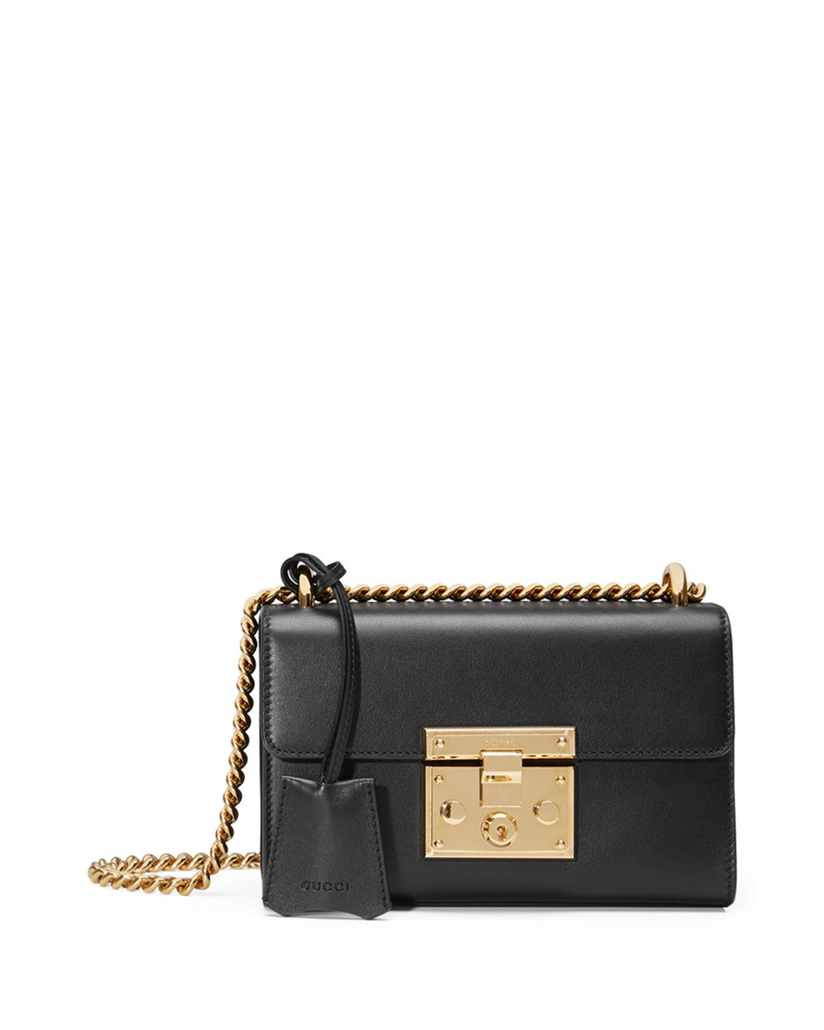 1320bed5f2 Gucci Padlock Small Leather Shoulder Bag, Black | Neiman Marcus
