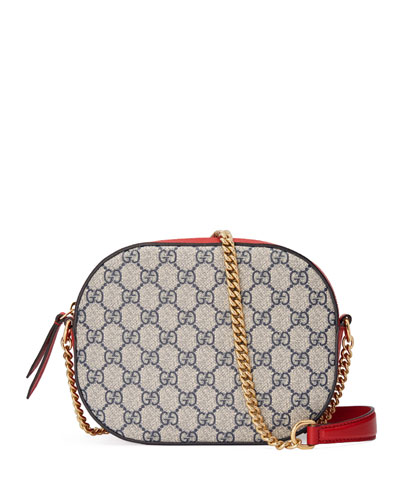 GG Supreme Mini Chain Bag, Beige/Blue/Red