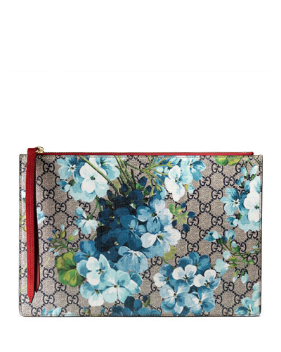 GG Blooms Large Pouch Bag, Blue/Multi