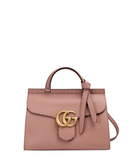 ecff9295710155 Gucci GG Marmont Small Top-Handle Satchel Bag, Taupe | Neiman Marcus