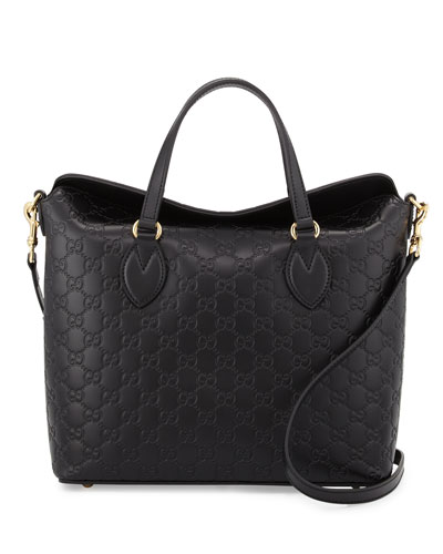 Guccissima Leather Top-Handle Bag, Black