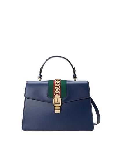 Sylvie Leather Top-Handle Satchel Bag, Camel
