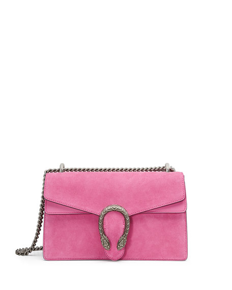 Dionysus Small Suede Shoulder Bag, Bright Pink