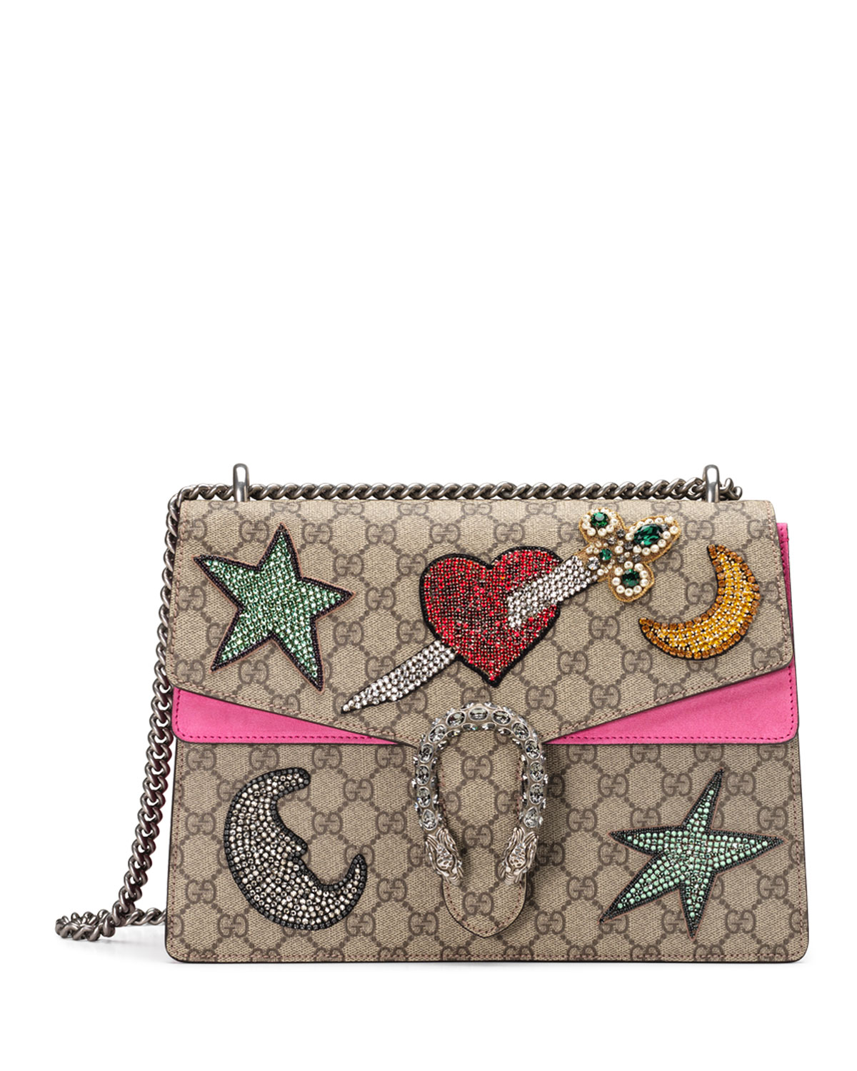 2b501923b7d2 Gucci Dionysus Embroidered Shoulder Bag, Multi/Pink | Neiman Marcus