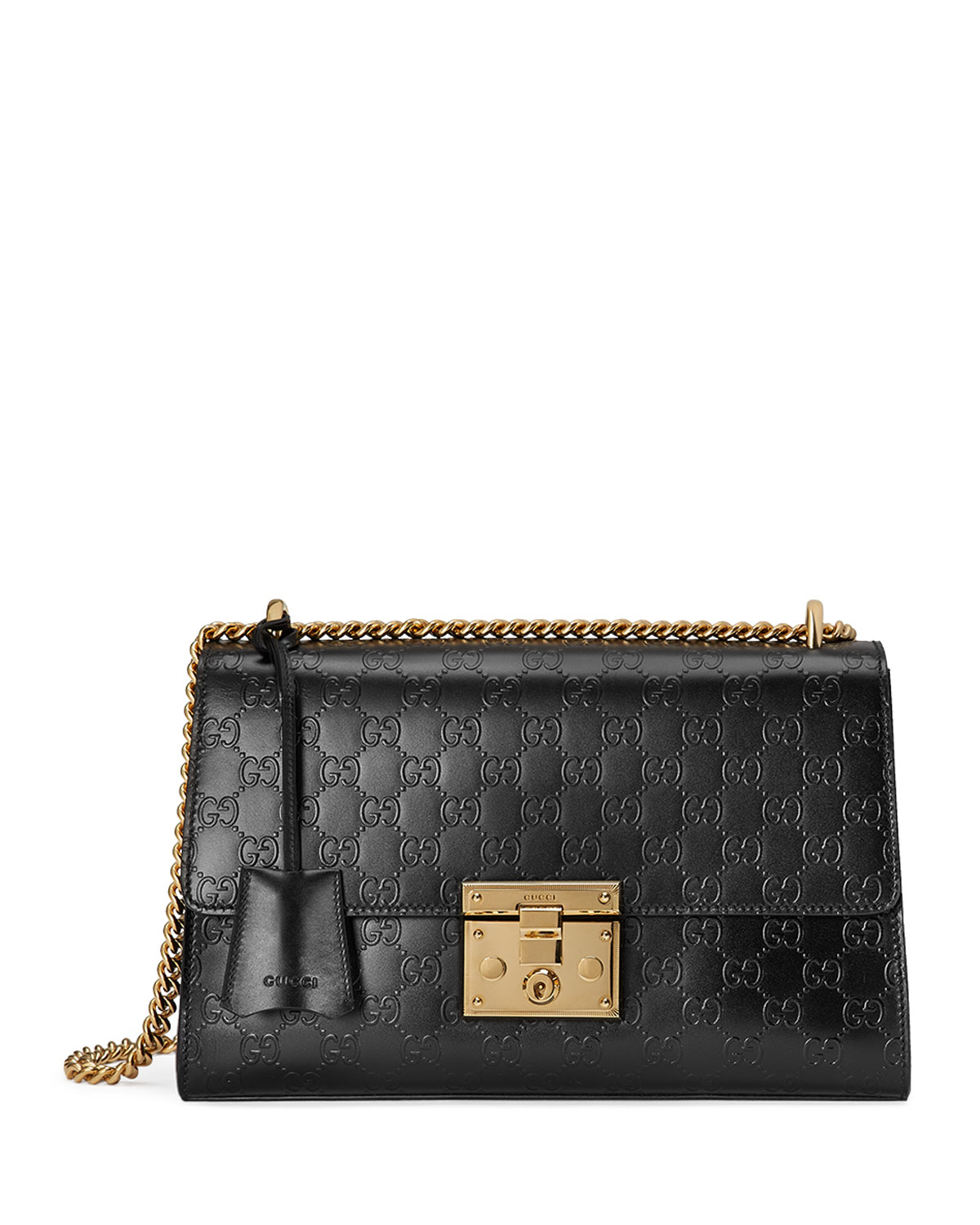 5c1fe89a71c0 Gucci Padlock Medium Guccissima Shoulder Bag, Black | Neiman Marcus