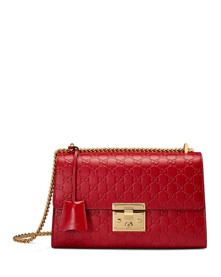 Padlock Medium Guccissima Shoulder Bag, Red