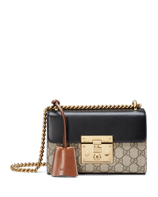 a5042038ca574b Gucci Padlock GG Supreme Shoulder Bag, Beige/Black/Cuir | Neiman Marcus
