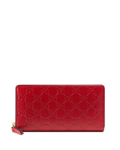 Guccissima Zip-Around Wallet, Red