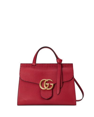 GG Marmont Small Top-Handle Satchel Bag, Red
