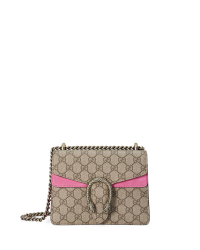 Dionysus GG Supreme Mini Shoulder Bag, Beige/Bright Pink