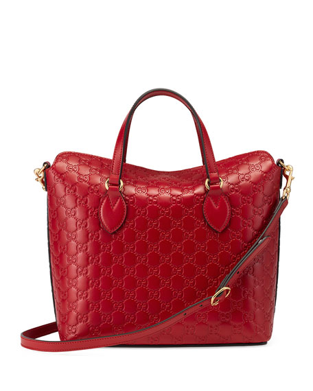 Guccissima Leather Top-Handle Bag, Red