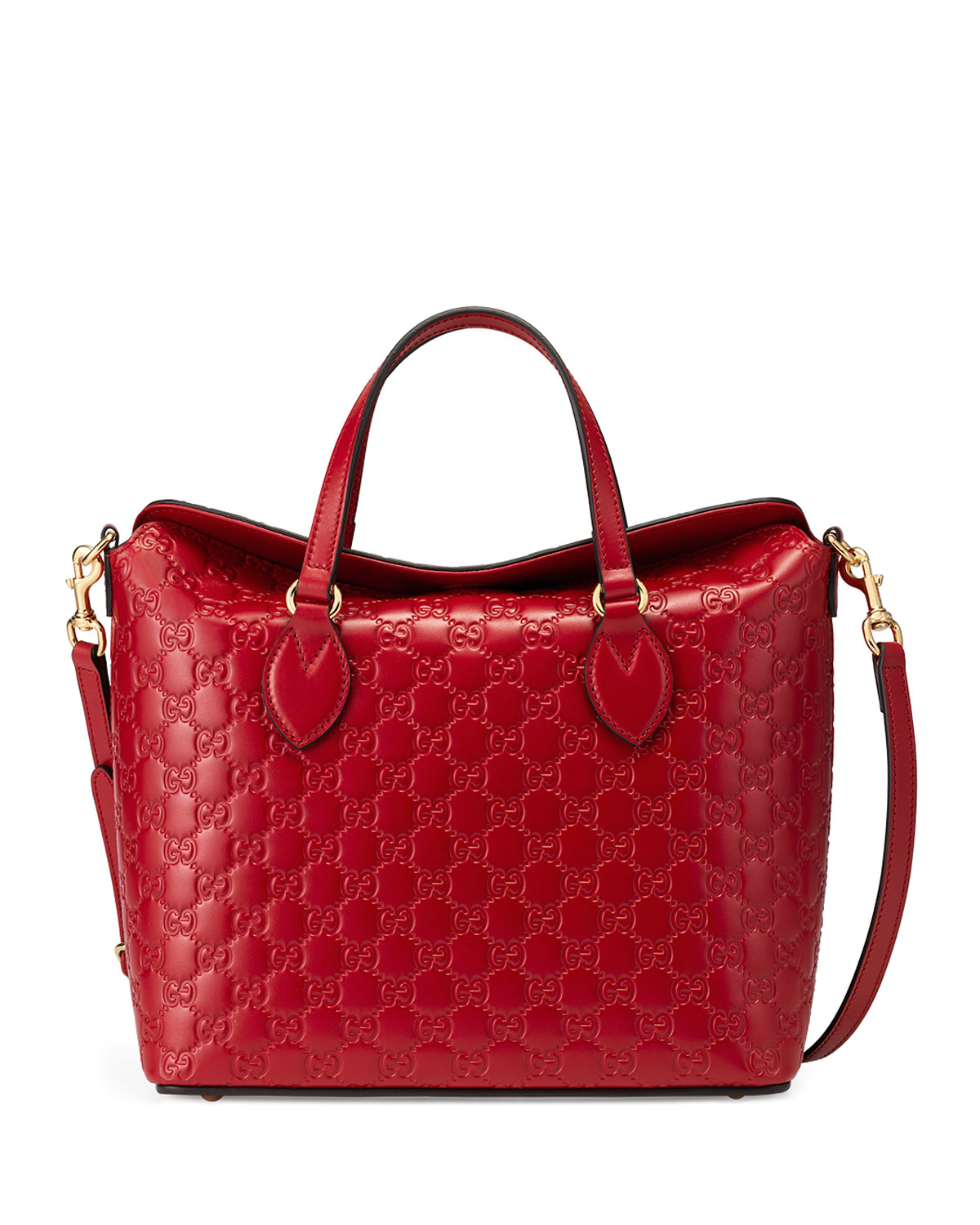 127f27b458d4 Gucci Guccissima Leather Top-Handle Bag, Red | Neiman Marcus