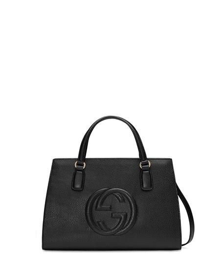 Gucci Soho Leather Top Handle Satchel Bag Black Neiman