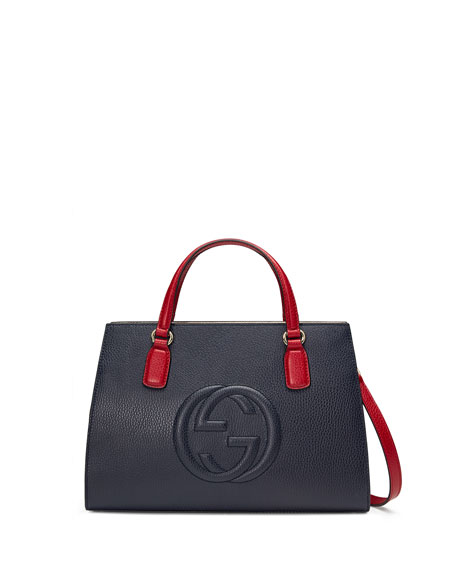 Soho Leather Top-Handle Satchel Bag, Navy/White/Red
