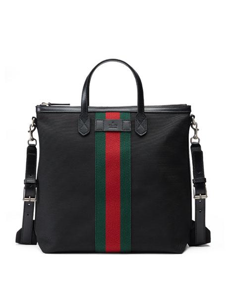 Gucci Web Band Canvas Tote Bag Black Neiman Marcus