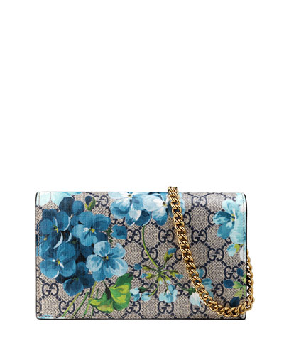 GG Blooms Supreme Chain Wallet, Blue/Multi