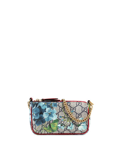 GG Blooms Mini Chain Shoulder Bag, Blue/Multi