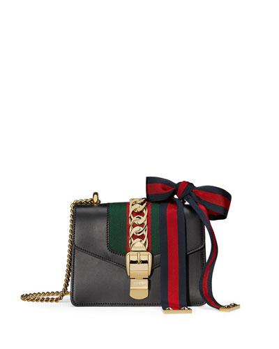 Sylvie Leather Mini Chain Shoulder Bag, Black