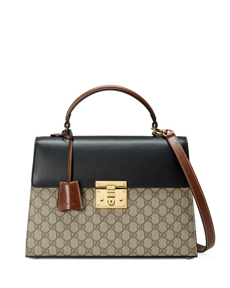Padlock GG Supreme Top-Handle Satchel Bag, Beige/Black/Cuir