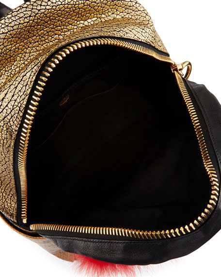 Stark Small Leather Insignia Backpack, Gold