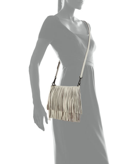 Rebecca Minkoff Finn Fringe Crossbody Bag, Light Gray