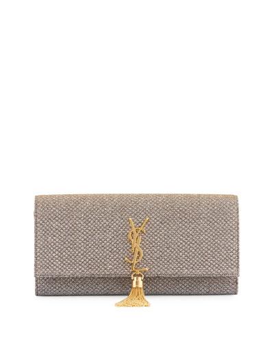 Monogram Kate Fabric Tassel Clutch Bag, Gold/Silver