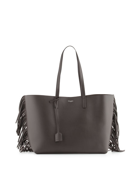 Large Calfskin Fringe Shopping Tote Bag, Dark Gray