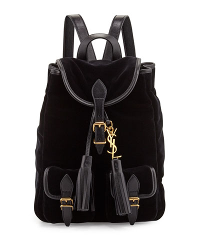 Festival Small Velour Backpack, Black