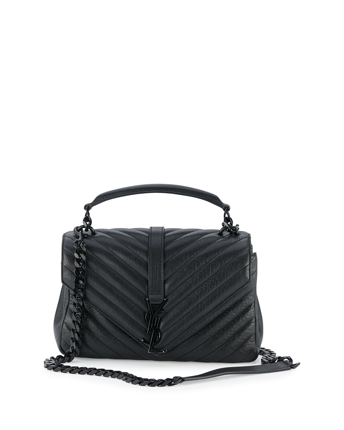 Saint Laurent Monogram Medium College Shoulder Bag, Black   Neiman ... f9ae934fde