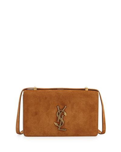 Monogram Small Dylan Suede Serpent Shoulder Bag, Dark Brown