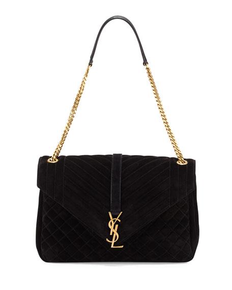 Monogram Large Tri-Quilt Slouchy Chain Shoulder Bag, Black