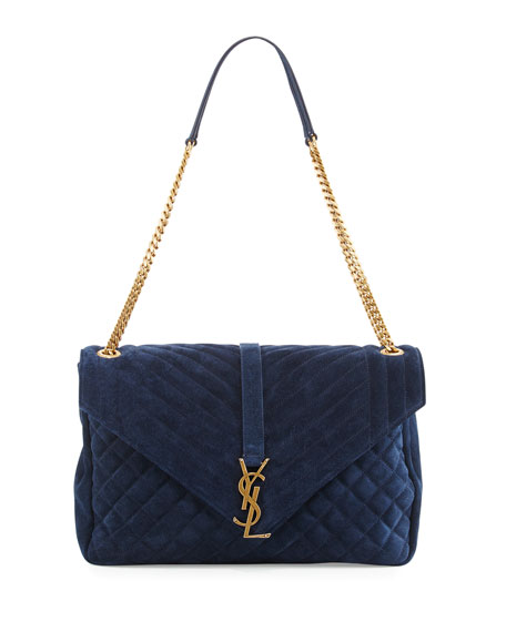 Monogram Large Tri-Quilt Suede Slouchy Chain Shoulder Bag, Navy