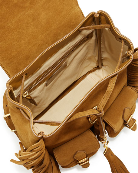 Festival Small Suede Fringe Backpack, Tan