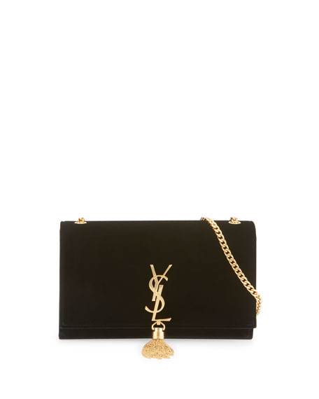 Kate Monogram Medium Velvet Tassel Satchel Bag, Black