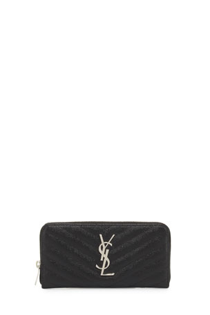 Saint Laurent Monogramme Grain de Poudre Zip-Around Wallet, Black