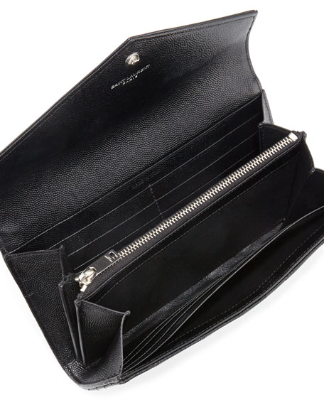 Monogram Leather Large Flap Continental Wallet, Black