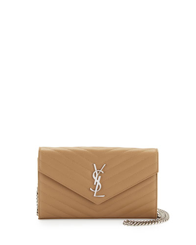 Monogram Matelasse Leather Wallet-on-a-Chain, Beige