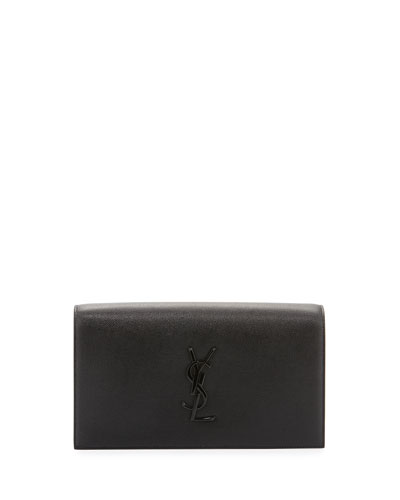 Kate Monogram Leather Clutch Bag, Black