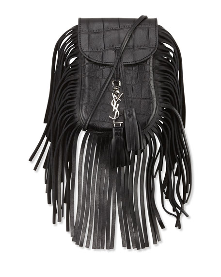 Anita Toy Flat Fringe Croc-Embossed Crossbody Bag, Black