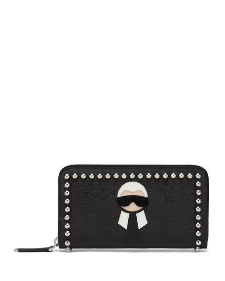 Zip-Around Continental Wallet, Black