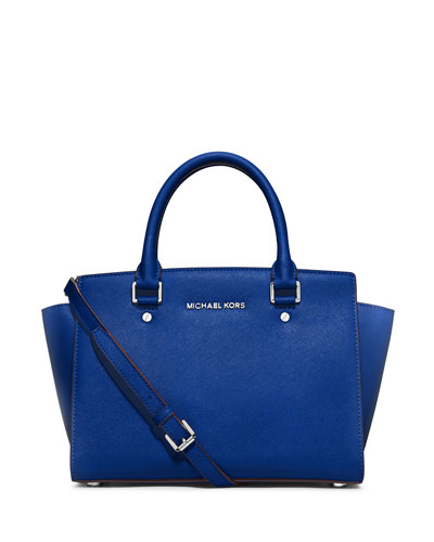 Selma Medium Top-Zip Satchel, Electric Blue