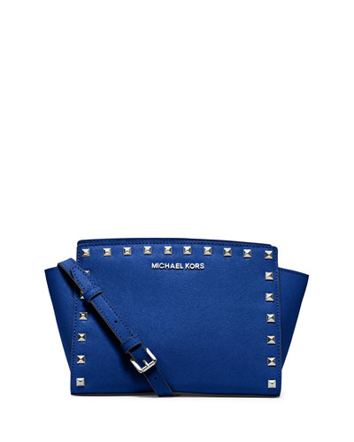 Selma Stud Medium Zip Messenger Bag, Electric Blue